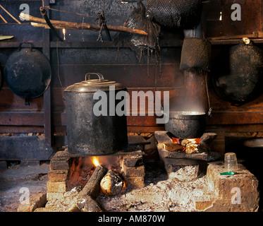 einfache typische laotische Küche simple typical laotic kitchen - Stock Photo