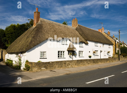 Thatched cottages in village of Chideock, Dorset, England, UK - Stock Photo