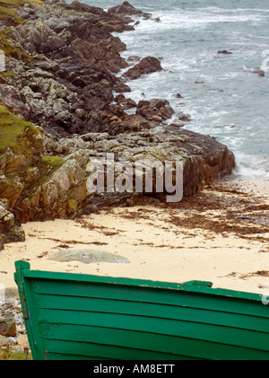 Fishing Boat on beach at Husinish North Harris Outer Hebrides Western Isles Scotland United Kingdom - Stock Photo