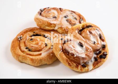 Three Danish pastries close up - Stock Photo