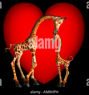 Gabby Giraffe shows affection to her son by giving him a little kiss on top of his head. Valentines are not just - Stock Photo