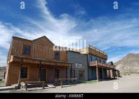 Wooden buildings in an old American western style town - Stock Photo