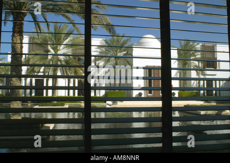 Oman Muscat The CHEDI Deluxe hotel View from room of Watergarden Courtyard - Stock Photo
