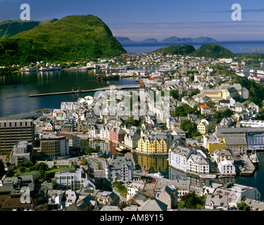 NO - MORE OG ROMSDAL:  Alesund seen from Aksla Mountain - Stock Photo