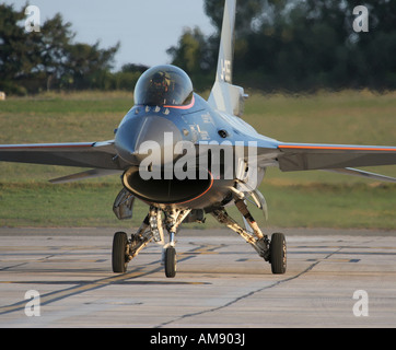 Royal Netherlands Air Force F-16AM Fighting Falcon taxies to the stand - Stock Photo