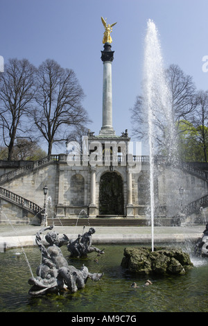 The Friedensengel (Angel of Peace) in the Bavarian city of Munich. The statue was erected after the Franco-Prussian - Stock Photo