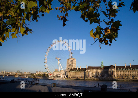 London in late Autumn showing the London Eye, Saatchi Gallery and County Hall on the South Bank - Stock Photo