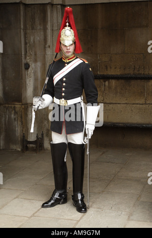 A soldier on sentry duty in central London, England. - Stock Photo