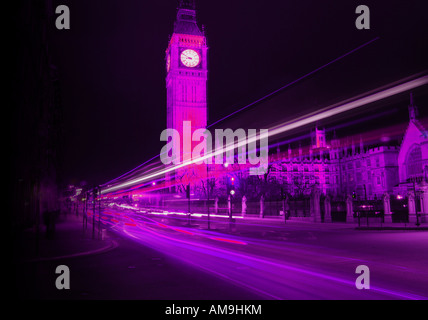 London Big Ben at night light trails - Stock Photo