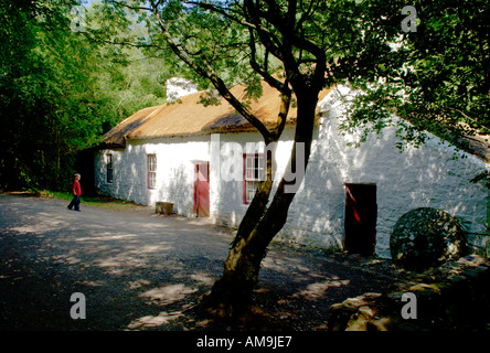 The Ulster American Folk Park near Omagh, County Tyrone, Ireland. The Weavers Cottage. 19th century traditional - Stock Photo