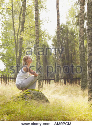 Woman crouching on a large rock by a wooden fence. - Stock Photo