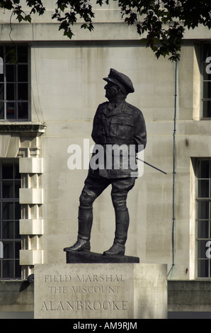 The statue of Alan Brooke in London Whitehall - Stock Photo
