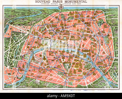 map of paris nouveau paris monumental 1905 3d illustrated tourist map of the sights of the french capital and