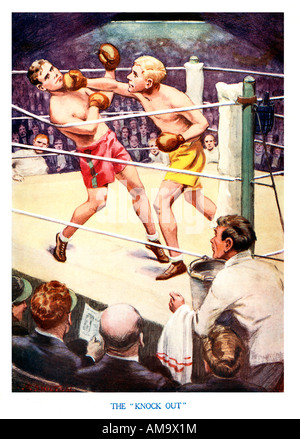 Knock Out 1920s boys magazine illustration of a boxing match a Stock