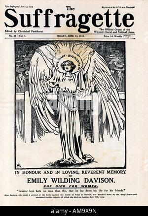 Suffragette Emily Wilding Davison memorial issue 13 June 1913 of the newspaper edited by Christobel Pankhurst - Stock Photo