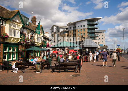UK Dorset Poole Old Town Quay Jolly Sailor and Lord Nelson seafront public houses - Stock Photo