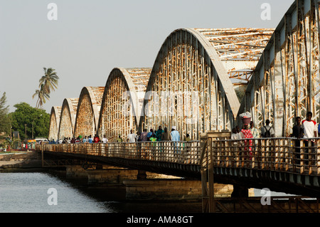 Senegal, Saint Louis Region, Saint Louis, Pont Faidherbe over Senegal River - Stock Photo
