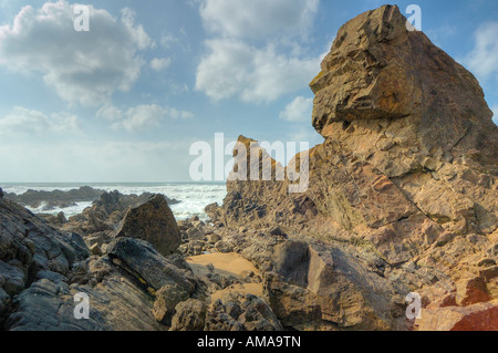 Rocks at Wrangle Point Crooklets Beach Bude - Stock Photo