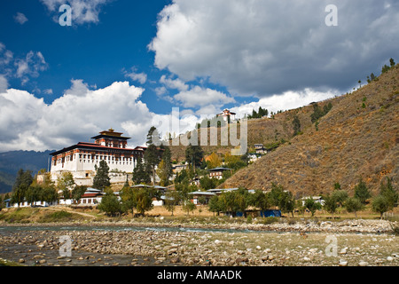 Paro Dzong, Paro River (Chhu), Paro, Bhutan, Asia - Stock Photo