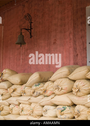 Antigua, Guatemala: Processed coffee beans in storage. - Stock Photo