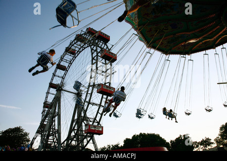 Aug 2008 - The Riesenrad giant wheel at Prater Amusment park Vienna Austria - Stock Photo