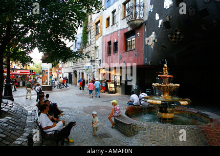 Aug 2008 - Hundertwasser House Vienna Austria - Stock Photo
