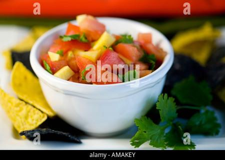 Tomato salsa in a bowl - Stock Photo