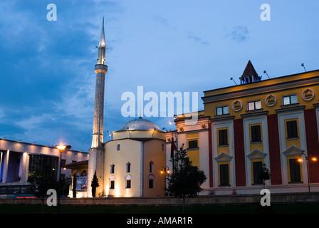 Ethem Bay mosque in Skanderbeg Square at dusk. Tirana, Albania - Stock Photo