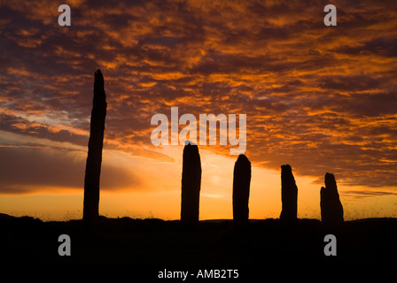 dh  RING OF BRODGAR ORKNEY Britain Neolithic standing stones orange and grey sunset cloudy dusk sky - Stock Photo