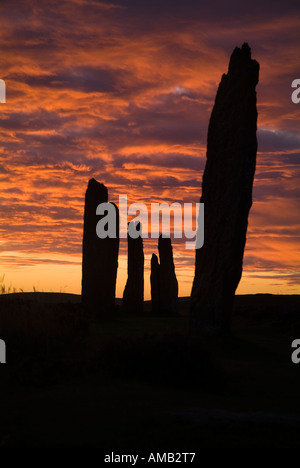 dh  RING OF BRODGAR ORKNEY Neolithic standing stones orange pink and grey sunset cloudy dusk sky - Stock Photo
