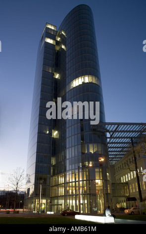 the office building GAP 15 at Dusseldorf in the evening - Stock Photo