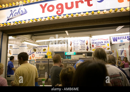 Ice cream and yogurt store on the boardwalk at Point Pleasant in New Jersey USA summer 2006 - Stock Photo
