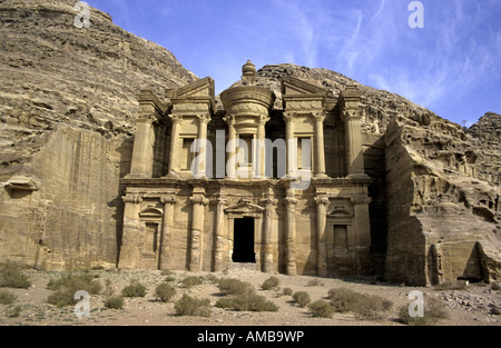 monastery Al-Deir in the ancient Nabatean city, Jordan, Petra - Stock Photo