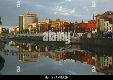 Ha'penny Bridge, Ireland, Dublin - Stock Photo