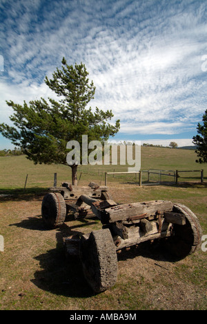 Wooden cart and wooden fence at Gulf Station Yarra Valley pioneer working farm and National trust property Victoria - Stock Photo