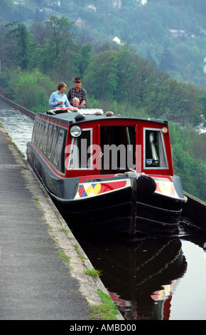 A Narrow Boat Crosses Pont Cysyllte Aqueduct near Llangollen Wales - Stock Photo