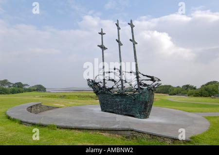 National Famine Monument, commemorating 150 year anniversary of the Irish Famine, Murrisk, near Westport, County - Stock Photo