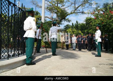 Cuba Havana streetscene military parade at plaza de armas close at the memorial for Carlos Manuel de Céspedes - Stock Photo