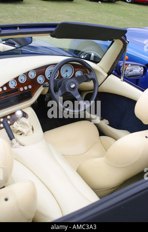 TVR sports car luxury white cream leather interior - Stock Photo