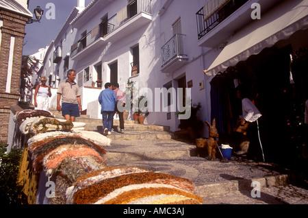 Street scene in the old Spanish town of Frigiliana near Nerja - Stock Photo
