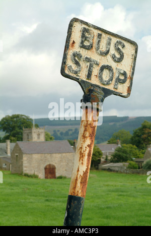 Old bus stop sign in the village of Romaldkirk, County Durham, England, UK. - Stock Photo