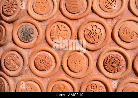 Benalla Ceramic mural in style of Spanish architect Antonio Gaudi on the edge of Lake Benalla Victoria Australia - Stock Photo
