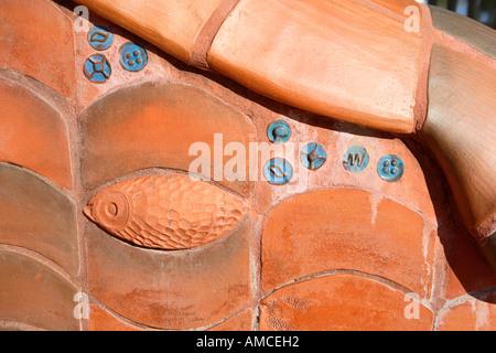 Benalla upper level Ceramic mural in style of Spanish architect Antonio Gaudi on the edge of Lake Benalla Victoria - Stock Photo