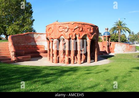 Benalla Ceramic mural in the style of Spanish architect Antonio Gaudi on the edge of Lake Benalla Victoria Australia - Stock Photo