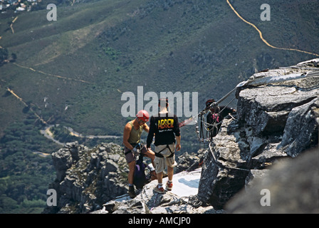CAPE TOWN SOUTH AFRICA October Abseiling from the top of Table Mountain - Stock Photo