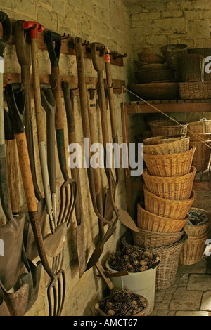 Garden Sheds Inside rows of tools hanging up inside garden shed stock photo, royalty