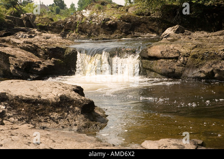Part of the Falls of Dochart in the village of Killin in Perthshire in Scotland - Stock Photo