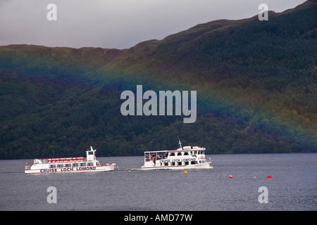 Pleasure boat on Loch Lomond at Tarbet, Loch Lomond and The Trossachs National Park, Argyll and Bute, Scotland - Stock Photo