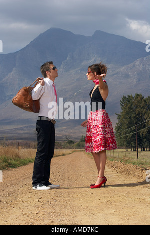 Couple Fighting On Country Road - Stock Photo