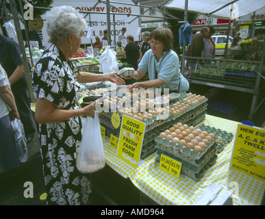 Farmers market stall in Louth marketplace Lincolnshire - Stock Photo
